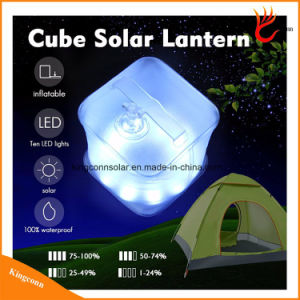 Waterproof PVC Foldable Inflatable LED Cube Light Solar Power Camping Lantern for Outdoor Emergency Lighting pictures & photos