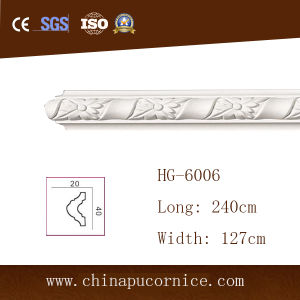 4 Cm Carving PU Moulding Frame Line / PU Wall and Ceiling Frame Moulding pictures & photos