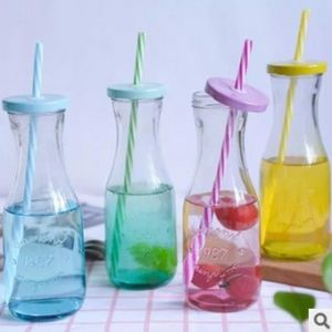 New Design 300ml Glass Beverage Bottles for Juice, Milk Glass Bottles with Straw and Lid pictures & photos