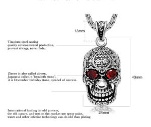 Gothic Skull Zircon Necklace Pendant 316L Stainless Steel Jewelry pictures & photos