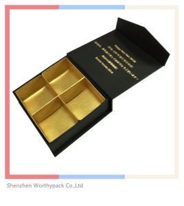 Chocolate Gift Box with 4slots Coated Golden Paper Interior pictures & photos