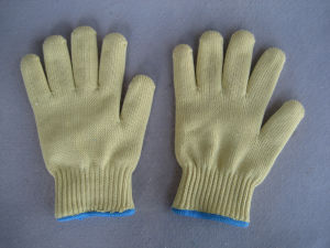 7g Five Aramid Yarn Glass Fiber Cut Resistance Knitted Glove-2317 pictures & photos