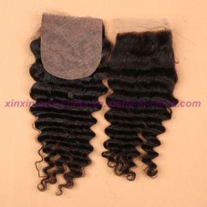 Malaysian Deep Wave Closure 4*4 Silk Base Closure 8A Unprocessed Hair Silk Base Closure pictures & photos