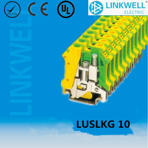 DIN Rail Mounting Yellow Green Ground/Earth Terminal Block (LUSLKG 10) pictures & photos