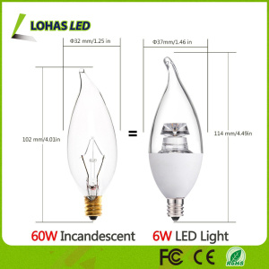 Dimmable E12 6W 2500k Warm White LED Candle Light Bulb for Home Lighting pictures & photos