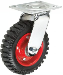8inch Heavy-Duty Rubber Wheel Caster Without Brake