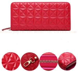 OEM Fashion Genuine Leather Lady′s Purse Wallet with Zipper pictures & photos
