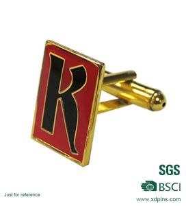 Customized Letter Logo Printed Cuff Link with Epoxy pictures & photos
