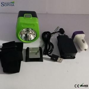 New 2.8ah Miner′s Cap Lamp, Head Lamp LED Headlight with USB