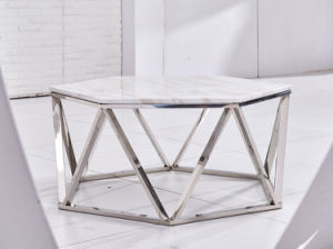 Fashionable White Marble Silver Stainless Steel Coffee Table pictures & photos