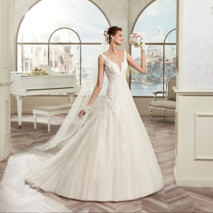 Custom Made Sleeveless Tulle Lace Appliques A-Line Wedding Dress 2017