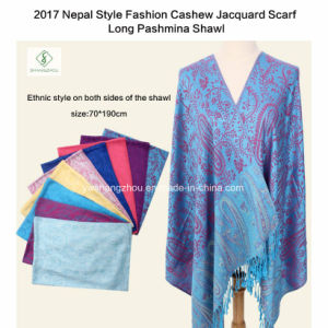 2017 Nepal Style Fashion Cashew Jacquard Scarf Long Pashmina Shawl pictures & photos