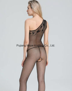 Ladies Mystery Lingerie Asymmetric Cut Net Crotchless Catsuit pictures & photos