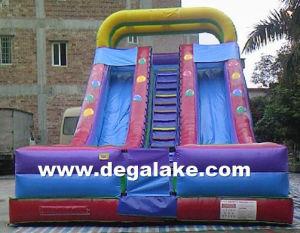 22′h Inflatable Rainbow Dual Lane Slide with Balloon Printing