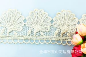 New Design Sea Shell Factory Wholesale Stock 6cm Width Embroidery Water Soluable Lace for Garments & Home Textiles & Curtains pictures & photos