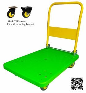 300kg Apple Green Platform Hand Truck Foldable Plastic Hand Trolley pictures & photos