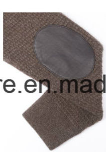 Men′s Fashion Design High-End Pure Cashmere Knitwear with Leather Decoration pictures & photos