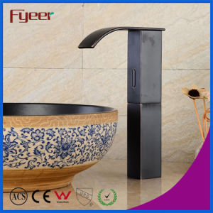 Fyeer High Body Black Brass Waterfall Automatic Sensor Tap pictures & photos