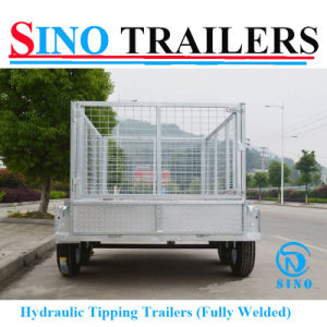 Galvanised Check Steel Plate Cage Tipping Trailer pictures & photos