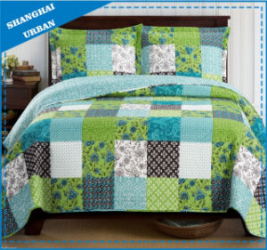 Green Shade Printed Polyester Patchwork Style Bedspread Set pictures & photos