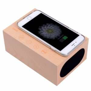 Bluetooth Wooden Wireless Charger Speaker and Qi Wireless Charger+Touch Screen Panel+Handsfree with Alarm Clock