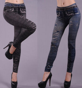 Fashion Women′s Stretchy Ripped Print Jeans Leggings (89716) pictures & photos