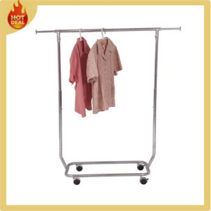 Movable Garment Rack with Wheels for Clothes Shop pictures & photos