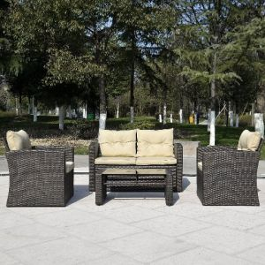4-Piece Cushioned Outdoor Brown Rattan/Wiker Sofa