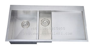 40X21 Inch Stainless Steel Top Mount Double Bowl Handmade Kitchen Sink with Drain Board pictures & photos
