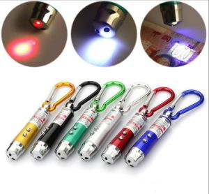 LED UV Light Keychain with Mountain Climing Hook Laser Pointer LED Laser Light Keychain pictures & photos