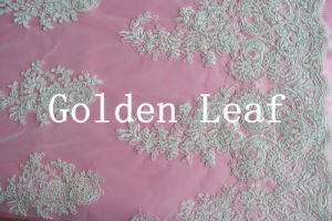 Mixed Embroidery Special Embroidery for 3mm Spangle Pure White Nylon Mesh Wedding Dress (SLS2135)