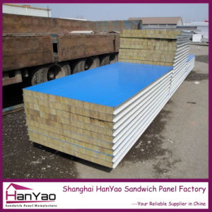 Corrugated Aluminum Rock Wool Color Steel Sandwich Panel pictures & photos