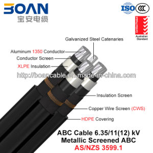 Hv ABC Cable, Aerial Bundled Cable, Al/XLPE/Cws/HDPE+Gsw, 3/C+1/C, 6.35/11 Kv (AS/NZS 3599.1) pictures & photos
