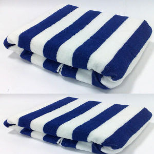 Stripe Print Quality Cotton Velvet Beach Towel/Pool Towel/Swimming Towel pictures & photos