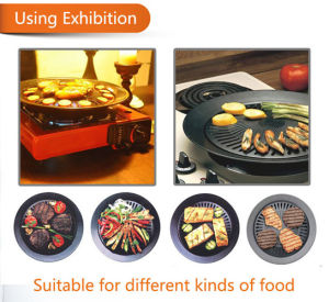 Non- Stick No Smoke Round BBQ Grill Plate with LFGB Approve pictures & photos