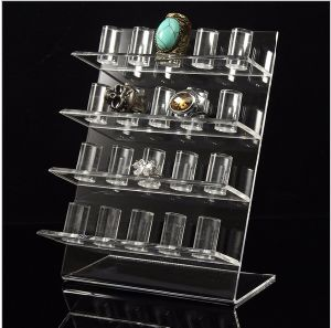 Custom Elegant Modern Acrylic Jewelry Displays, Acrylic Ring Display Shelf Rack pictures & photos