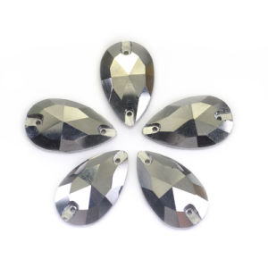 7X12mm Dark Gray Tear Drop Flatback Sewing Rhinestones for Clothes pictures & photos