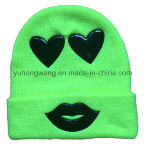 Fashion Knitted Winter Beanie Hat/Cap with PVC Patch pictures & photos