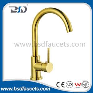 Exquisite Copper Single Handle Gooseneck Golden Plated Kitchen Faucet pictures & photos