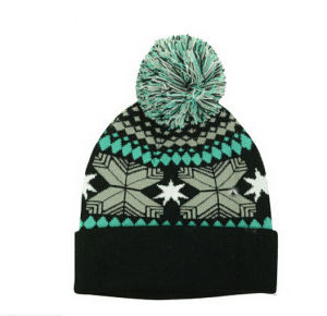 Hot Sale Warm Knit Beanie Hat with POM POM pictures & photos