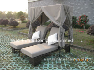 Sunbrella Cushion, Outdoor Rattan Chaise Lounge, Double Wicker Sunlounger, pictures & photos