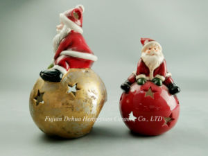 Ceramic Santa Claus Candle Holder for Home Decoration pictures & photos