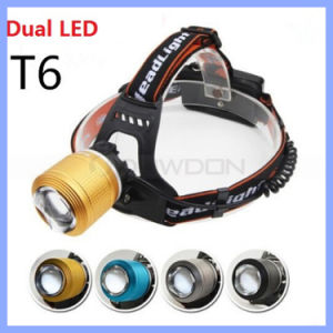 2 CREE T6 White and Blue LED Rechargeable 18650 Zoomable 2000lm 4 Mode Bike Hunting Headlamp pictures & photos