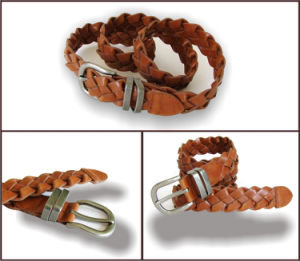 Brown PU Fashion Braided Belt for Women pictures & photos