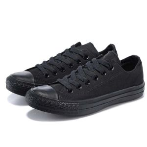 Womens Canvas Shoes Lace up Sneakers All Black Canvas Sneakers pictures & photos