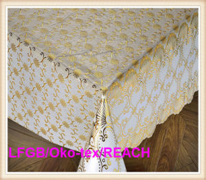137cm PVC Gold/Silver Lace Tablecloth for Wedding pictures & photos