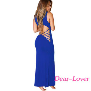 Wine Hollowed Back Maxi Jersey Dress pictures & photos