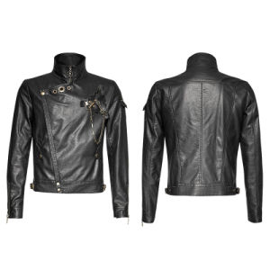 Y-701 Steampunk Men Black Vintage Motorcycle Leather Short Jacket pictures & photos