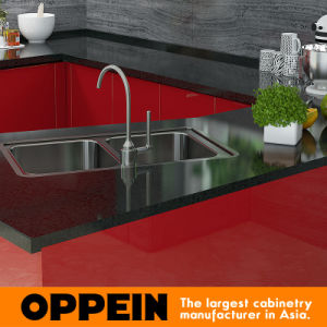 Tanzania Exhibition Modern Red Lacquer Wooden Wholesale Modular Kitchen Cabinet pictures & photos