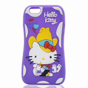 Bow Hat Cowboy Hello Kitty Silicone Case for Galaxy J7 S6 Note 7with Balloon Bottle Straw (XSK-021)